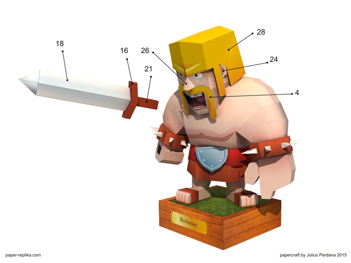 Barbarian - Clash of Clans Papercraft