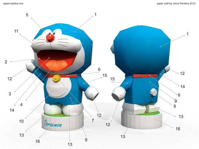 The Size Of This Figure Is With Same Scale Nobita Paper Craft Template Contains 3 Pages Patterns