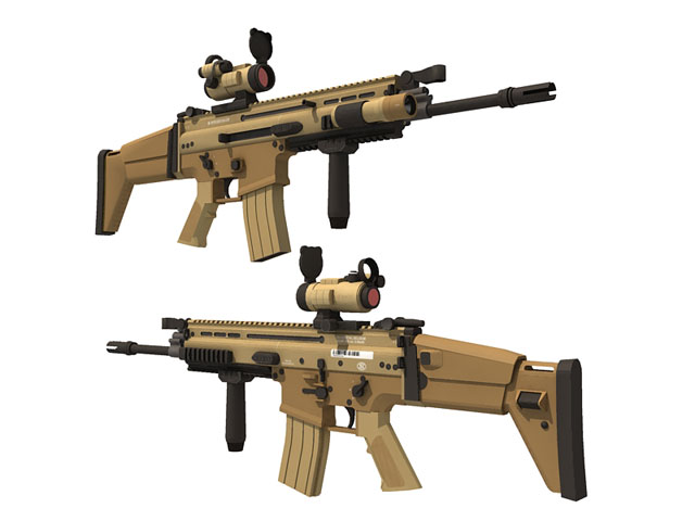 FN SCAR assault rifle paper craft model kit