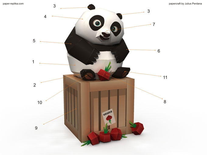 First Time I Thought Have To Make That In Papercraft Form So Here It Is A Simple Yet Cute Paper Craft Template Of Baby Po Figurine With Radish Crate