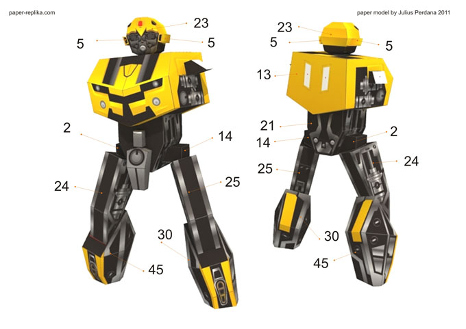 Transformers Bumblebee Paper Model Simple