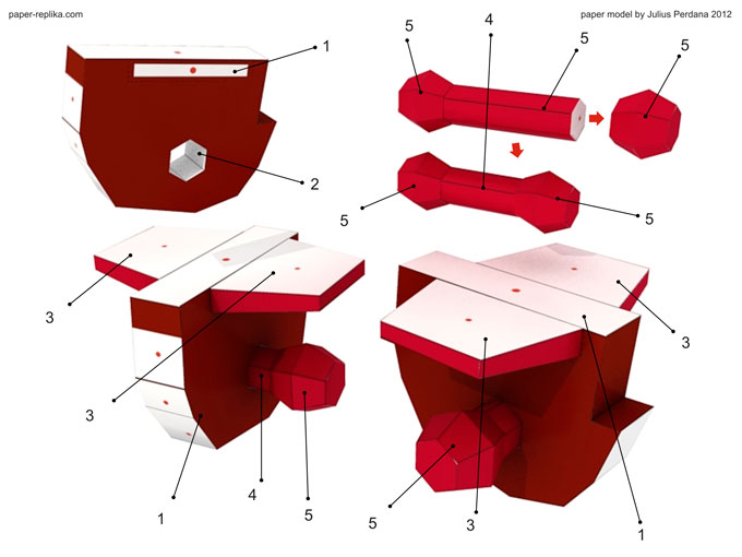 Assembly All The Hip Parts Part 2 Must Be In Place To Strengthen Joints Make Sure Fold Line Are Well Scored For Easier Folding Especially 5