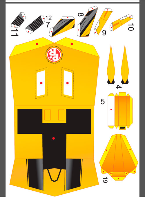Bumblebee Paper Model Template Resized 3X