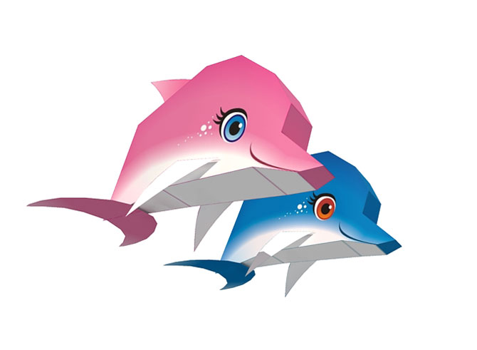 pink dolphin dan blue dolphin