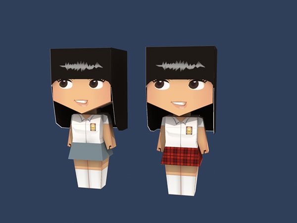 High School Girl Papertoy