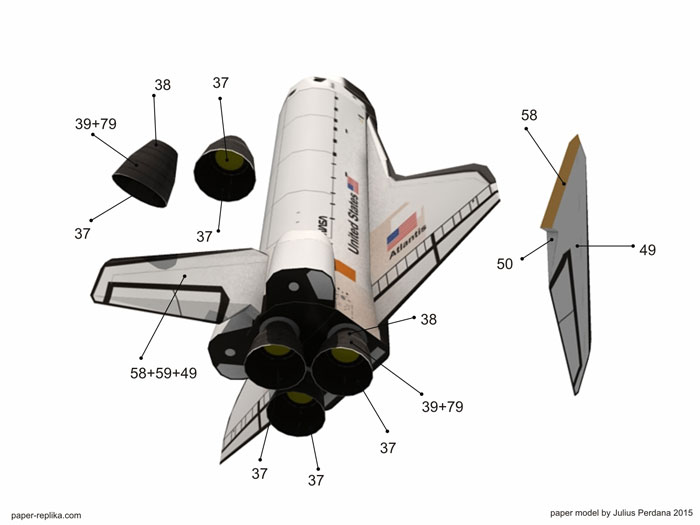 Atlantis Space Shuttle paper model