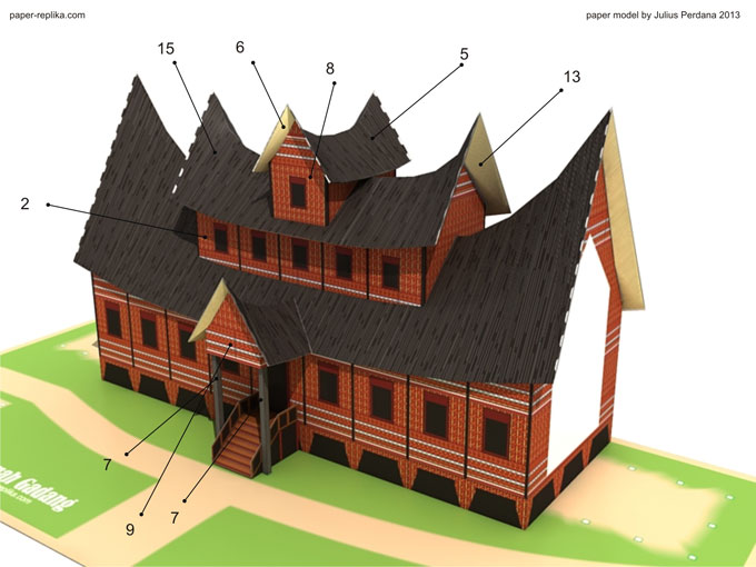 The house must at least consist of 5 rooms and 9 rooms for ideal. The template consist of 5 pages of patterns the scale is about 1:105.